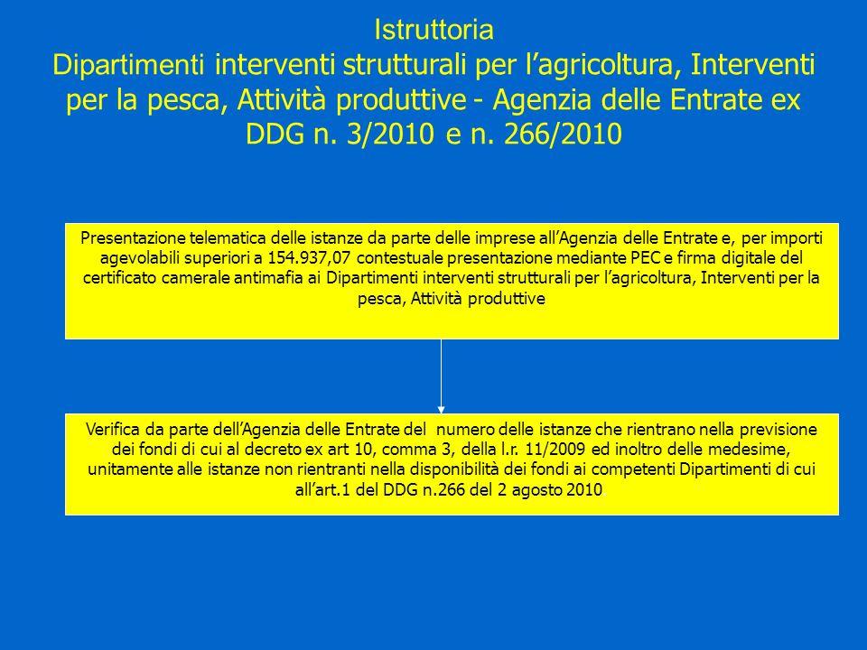 Presentazione telematica delle istanze da parte delle imprese allAgenzia delle Entrate e, per importi agevolabili superiori a 154.937,07 contestuale presentazione mediante PEC e firma digitale del certificato camerale antimafia ai Dipartimenti interventi strutturali per lagricoltura, Interventi per la pesca, Attività produttive Verifica da parte dellAgenzia delle Entrate del numero delle istanze che rientrano nella previsione dei fondi di cui al decreto ex art 10, comma 3, della l.r.