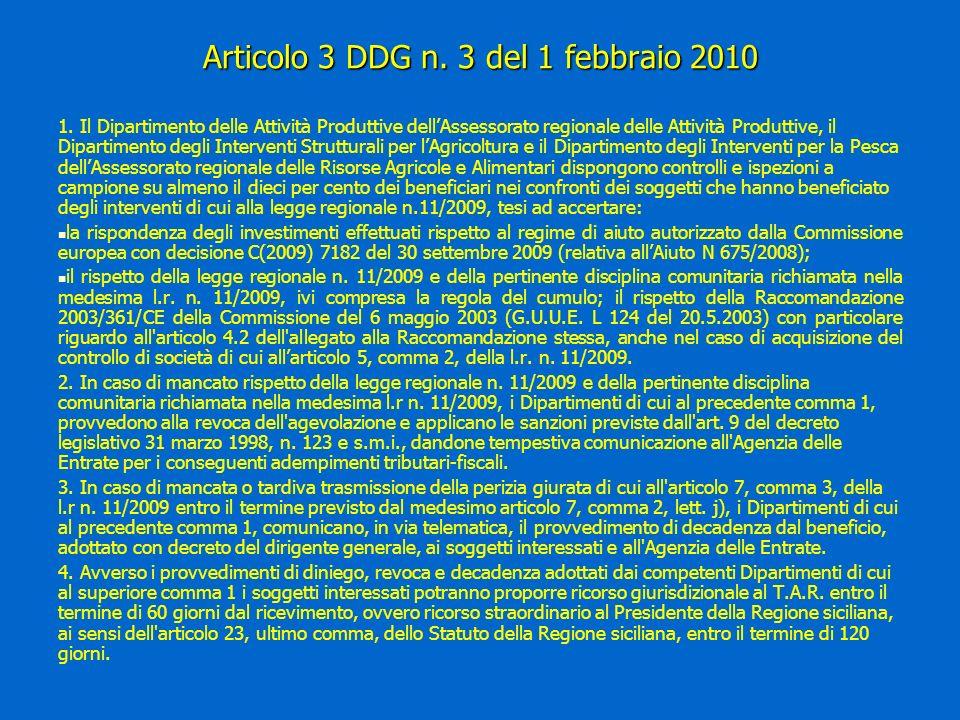 Articolo 3 DDG n. 3 del 1 febbraio 2010 1.