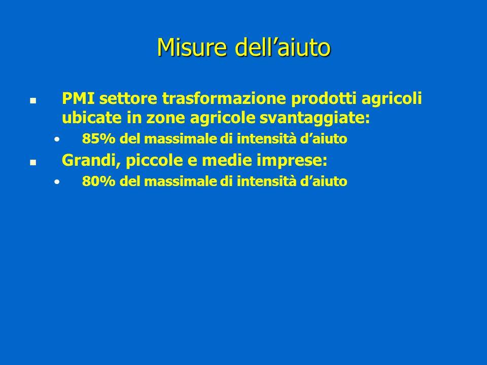 Misure dellaiuto PMI settore trasformazione prodotti agricoli ubicate in zone agricole svantaggiate: 85% del massimale di intensità daiuto Grandi, piccole e medie imprese: 80% del massimale di intensità daiuto