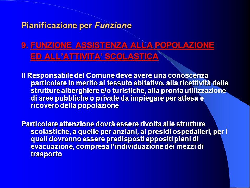 Pianificazione per Funzione 8. FUNZIONE TELECOMUNICAZIONI Il Responsabile cura i rapporti con le Società di telecomunicazione operanti sul territorio,