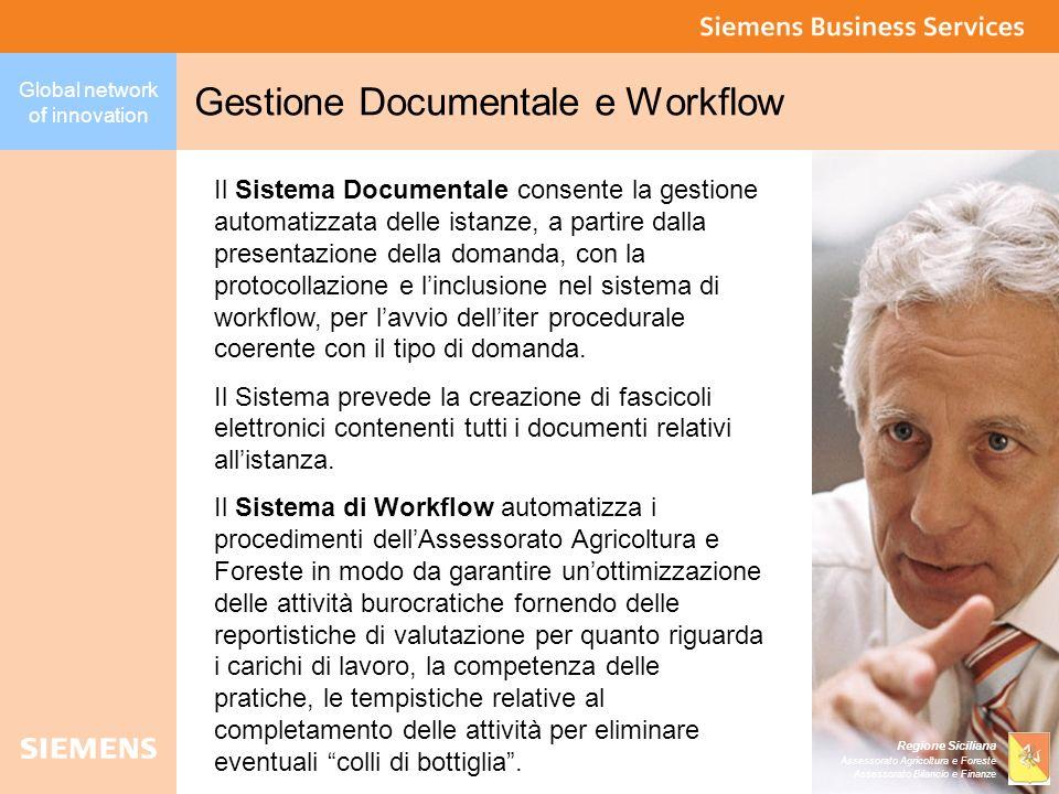 Global network of innovation Regione Siciliana Assessorato Agricoltura e Foreste Assessorato Bilancio e Finanze Gestione Documentale e Workflow Il Sis