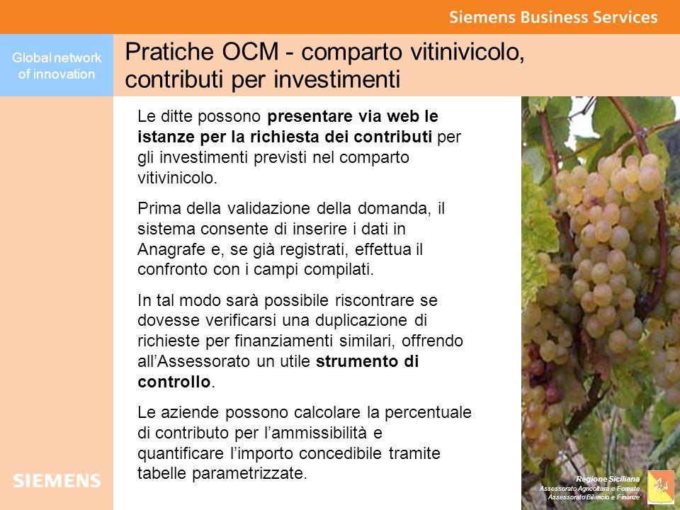 Global network of innovation Regione Siciliana Assessorato Agricoltura e Foreste Assessorato Bilancio e Finanze Pratiche OCM - comparto vitinivicolo,