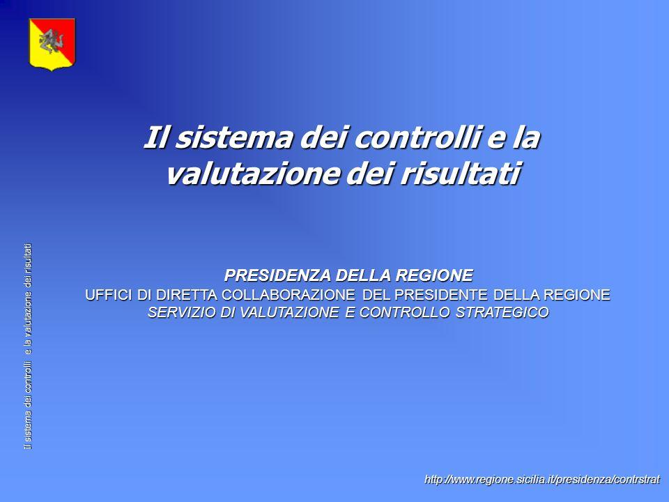 Il sistema dei controlli e la valutazione dei risultati http://www.regione.sicilia.it/presidenza/contrstrat PRESIDENZA DELLA REGIONE UFFICI DI DIRETTA COLLABORAZIONE DEL PRESIDENTE DELLA REGIONE SERVIZIO DI VALUTAZIONE E CONTROLLO STRATEGICO Il sistema dei controlli e la valutazione dei risultati