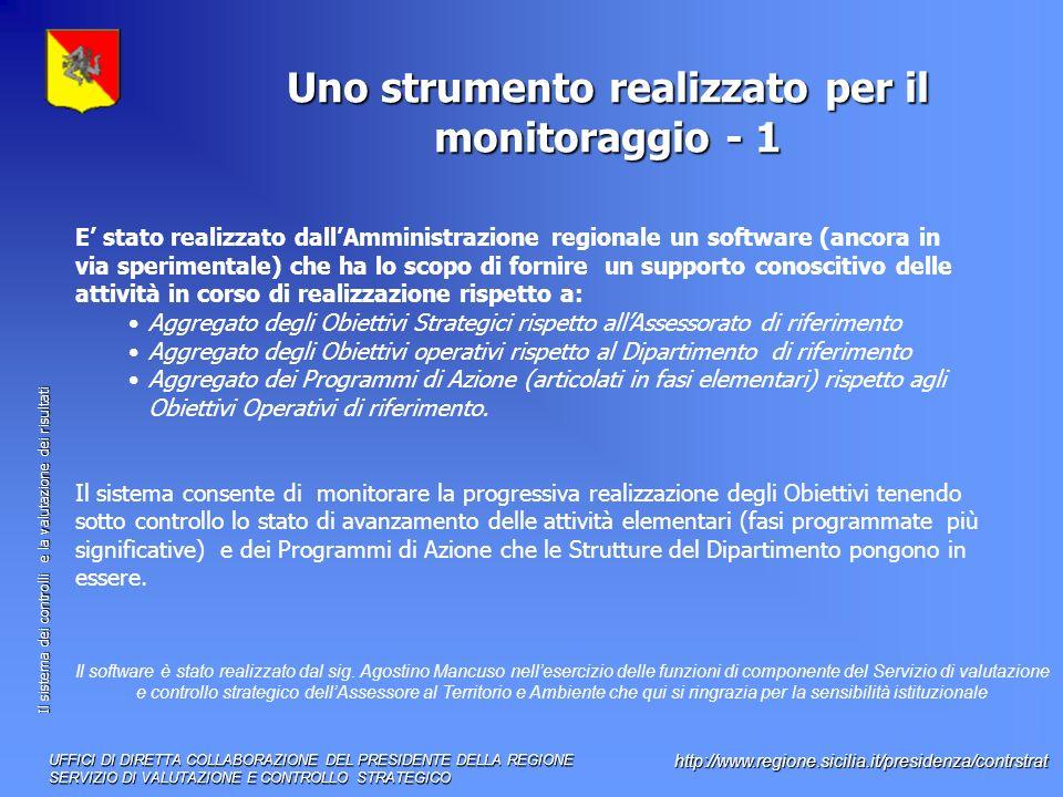 Il sistema dei controlli e la valutazione dei risultati http://www.regione.sicilia.it/presidenza/contrstrat Uno strumento realizzato per il monitoraggio - 1 UFFICI DI DIRETTA COLLABORAZIONE DEL PRESIDENTE DELLA REGIONE SERVIZIO DI VALUTAZIONE E CONTROLLO STRATEGICO E stato realizzato dallAmministrazione regionale un software (ancora in via sperimentale) che ha lo scopo di fornire un supporto conoscitivo delle attività in corso di realizzazione rispetto a: Aggregato degli Obiettivi Strategici rispetto allAssessorato di riferimento Aggregato degli Obiettivi operativi rispetto al Dipartimento di riferimento Aggregato dei Programmi di Azione (articolati in fasi elementari) rispetto agli Obiettivi Operativi di riferimento.