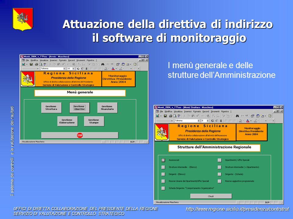 Il sistema dei controlli e la valutazione dei risultati http://www.regione.sicilia.it/presidenza/contrstrat Attuazione della direttiva di indirizzo il software di monitoraggio UFFICI DI DIRETTA COLLABORAZIONE DEL PRESIDENTE DELLA REGIONE SERVIZIO DI VALUTAZIONE E CONTROLLO STRATEGICO I menù generale e delle strutture dellAmministrazione