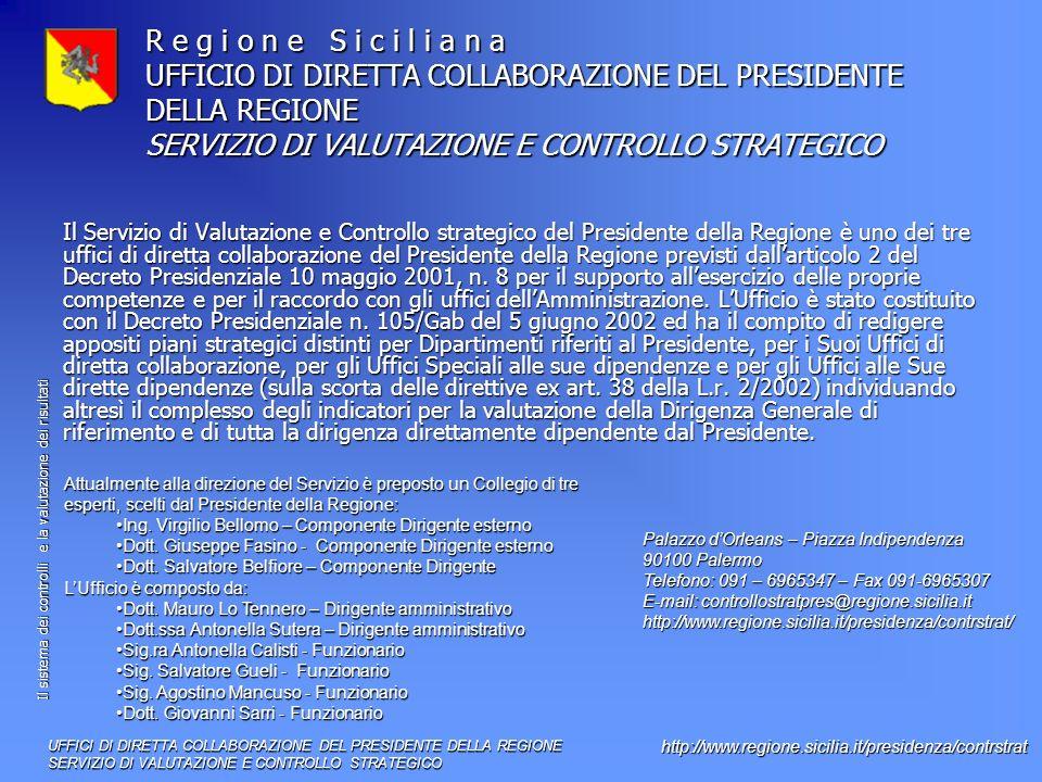 Il sistema dei controlli e la valutazione dei risultati http://www.regione.sicilia.it/presidenza/contrstrat R e g i o n e S i c i l i a n a UFFICIO DI DIRETTA COLLABORAZIONE DEL PRESIDENTE DELLA REGIONE SERVIZIO DI VALUTAZIONE E CONTROLLO STRATEGICO Il Servizio di Valutazione e Controllo strategico del Presidente della Regione è uno dei tre uffici di diretta collaborazione del Presidente della Regione previsti dallarticolo 2 del Decreto Presidenziale 10 maggio 2001, n.