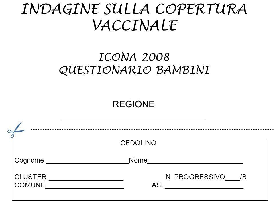 INDAGINE SULLA COPERTURA VACCINALE ICONA 2008 QUESTIONARIO BAMBINI REGIONE ____________________________ Cognome ______________________Nome____________