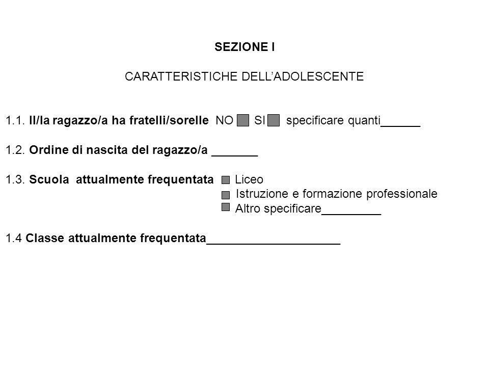 SEZIONE I CARATTERISTICHE DELLADOLESCENTE 1.1. Il/la ragazzo/a ha fratelli/sorelle NO SI specificare quanti______ 1.2. Ordine di nascita del ragazzo/a