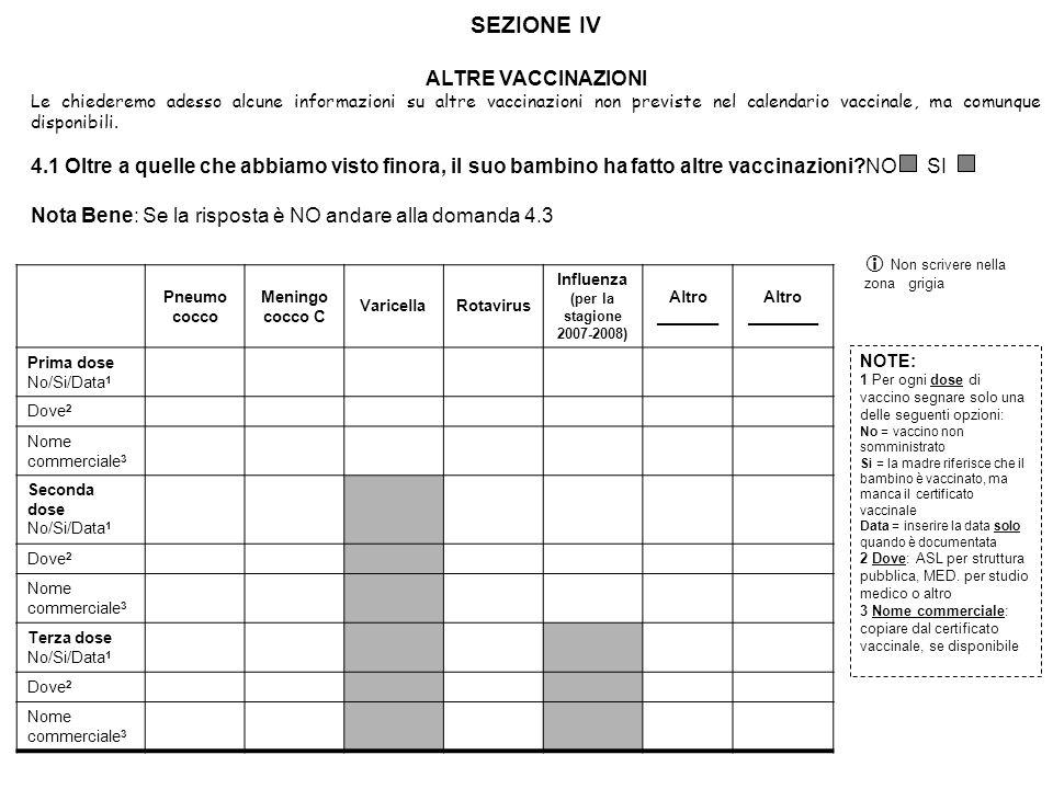 SEZIONE IV ALTRE VACCINAZIONI Le chiederemo adesso alcune informazioni su altre vaccinazioni non previste nel calendario vaccinale, ma comunque dispon