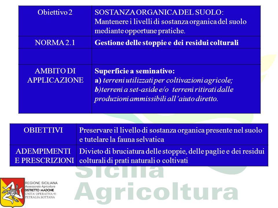 Obiettivo 2SOSTANZA ORGANICA DEL SUOLO: Mantenere i livelli di sostanza organica del suolo mediante opportune pratiche. NORMA 2.1Gestione delle stoppi