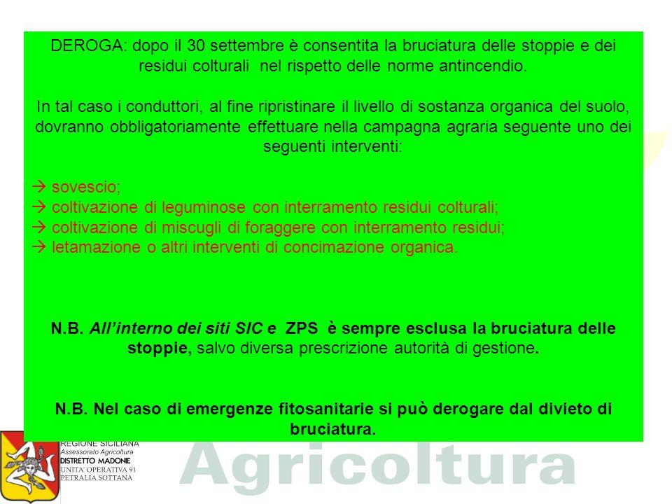DEROGA: dopo il 30 settembre è consentita la bruciatura delle stoppie e dei residui colturali nel rispetto delle norme antincendio. In tal caso i cond