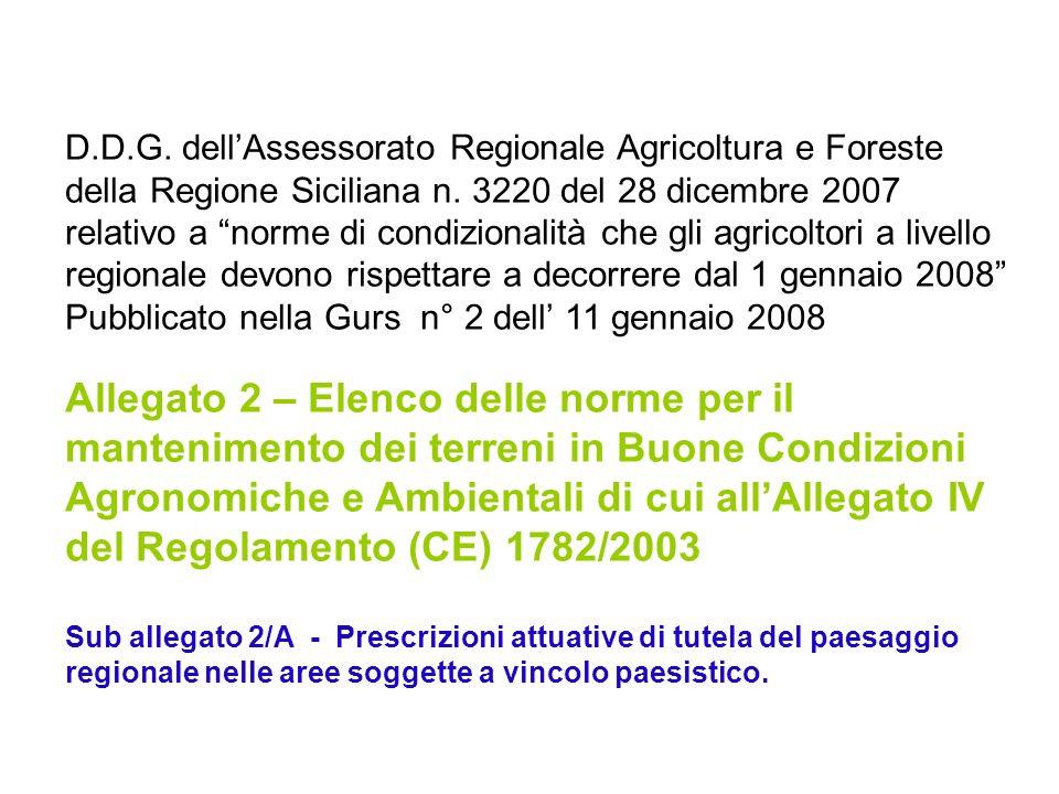 D.D.G. dellAssessorato Regionale Agricoltura e Foreste della Regione Siciliana n. 3220 del 28 dicembre 2007 relativo a norme di condizionalità che gli