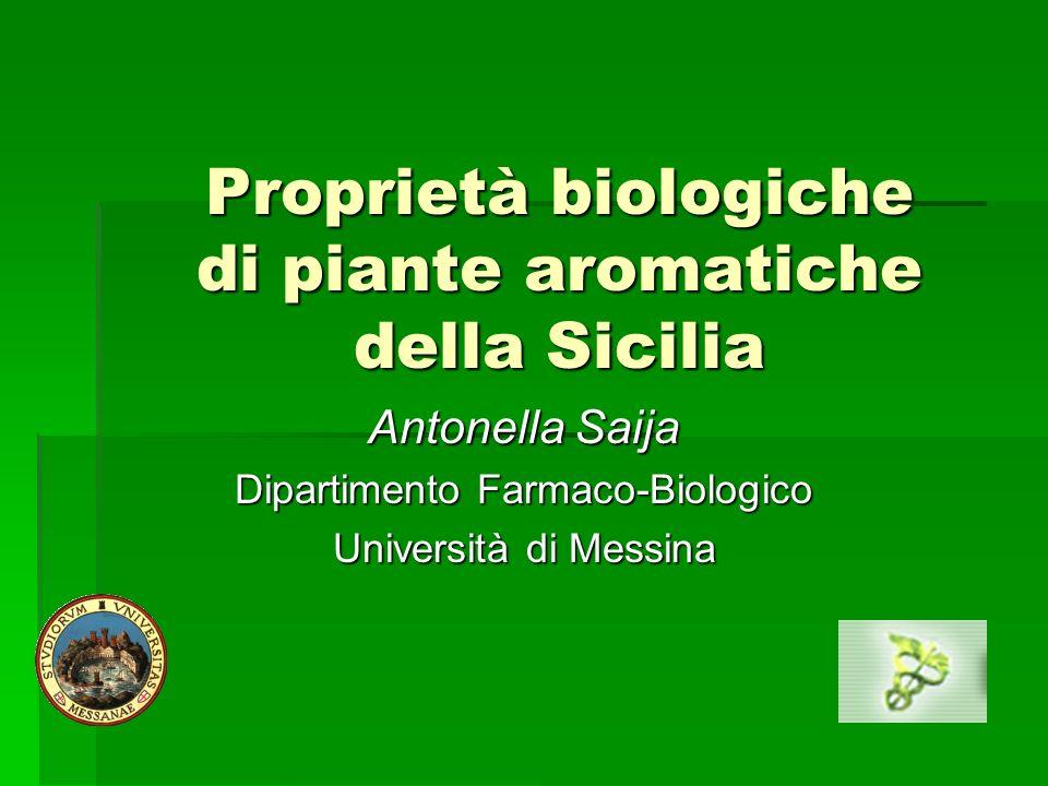 Proprietà biologiche di piante aromatiche della Sicilia Antonella Saija Dipartimento Farmaco-Biologico Università di Messina