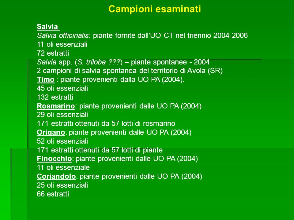 Salvia Salvia officinalis: piante fornite dallUO CT nel triennio 2004-2006 11 oli essenziali 72 estratti Salvia spp.