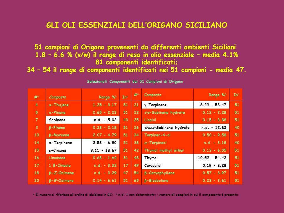 51 campioni di Origano provenenti da differenti ambienti Siciliani 1.8 – 6.6 % (v/w) il range di resa in olio essenziale – media 4.1% 81 componenti id