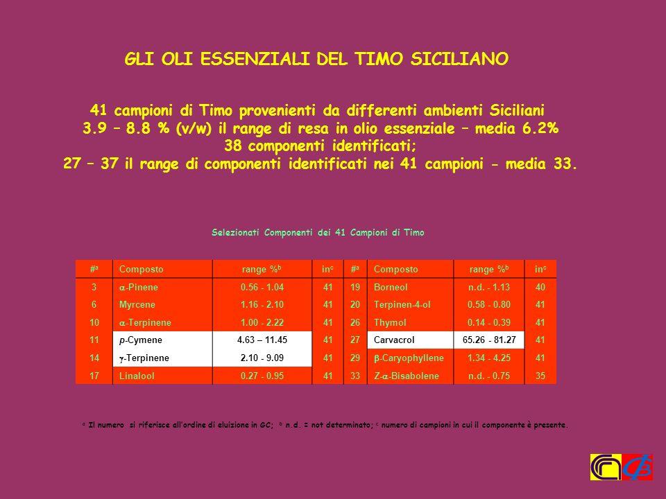 41 campioni di Timo provenienti da differenti ambienti Siciliani 3.9 – 8.8 % (v/w) il range di resa in olio essenziale – media 6.2% 38 componenti iden