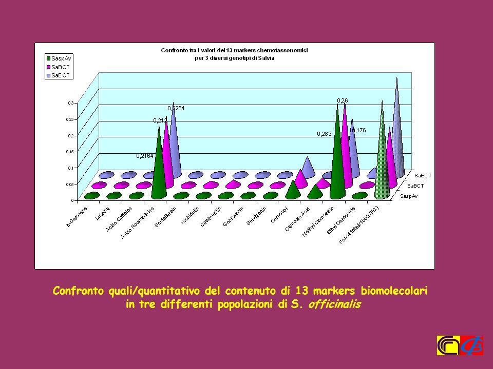 Confronto quali/quantitativo del contenuto di 13 markers biomolecolari in tre differenti popolazioni di S. officinalis