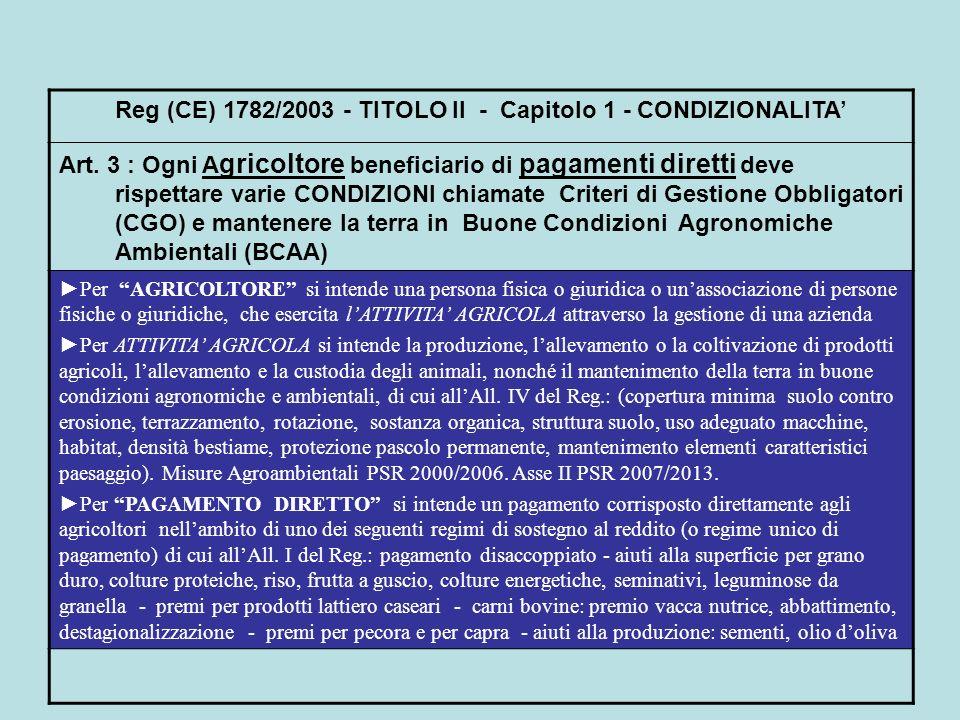 Reg (CE) 1782/2003 - TITOLO II - Capitolo 1 - CONDIZIONALITA Art. 3 : Ogni A gricoltore beneficiario di pagamenti diretti deve rispettare varie CONDIZ