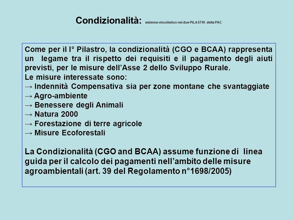 . Condizionalità: sistema vincolistico nei due PILASTRI della PAC Come per il I° Pilastro, la condizionalità (CGO e BCAA) rappresenta un legame tra il
