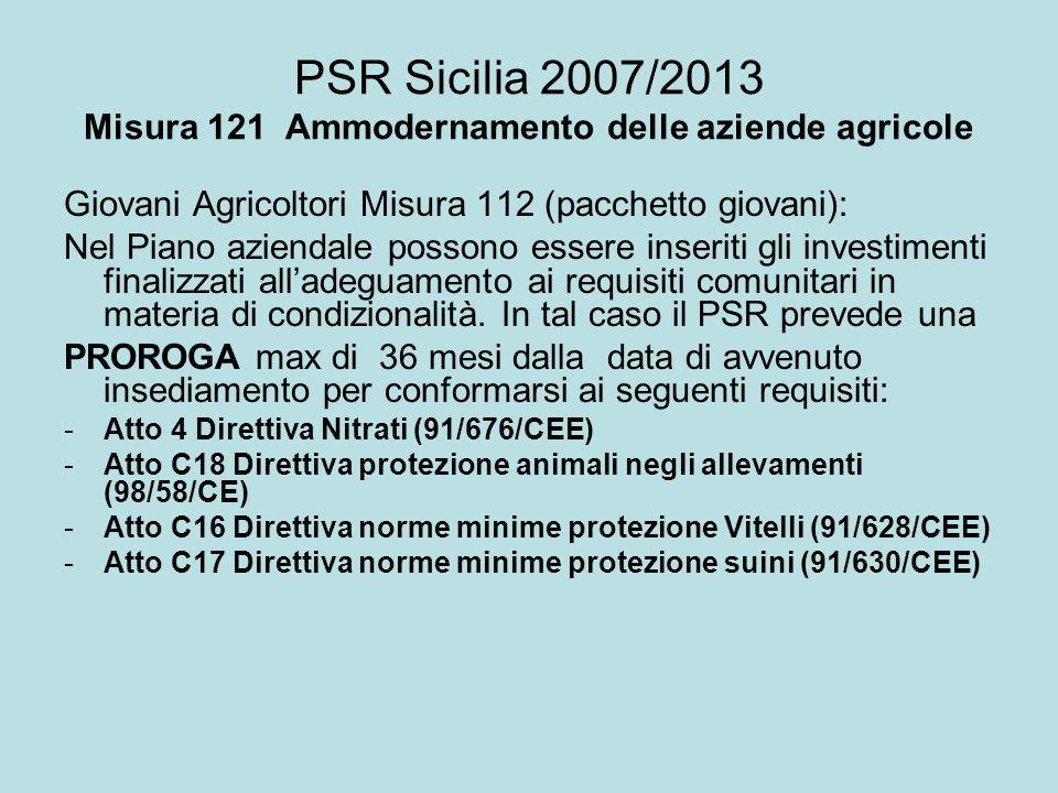 PSR Sicilia 2007/2013 Misura 121 Ammodernamento delle aziende agricole Giovani Agricoltori Misura 112 (pacchetto giovani): Nel Piano aziendale possono