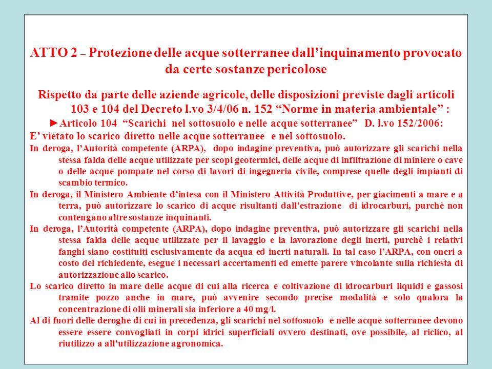 ATTO 2 – Protezione delle acque sotterranee dallinquinamento provocato da certe sostanze pericolose Rispetto da parte delle aziende agricole, delle di