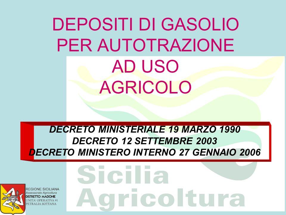 DEPOSITI DI GASOLIO PER AUTOTRAZIONE AD USO AGRICOLO DECRETO MINISTERIALE 19 MARZO 1990 DECRETO 12 SETTEMBRE 2003 DECRETO MINISTERO INTERNO 27 GENNAIO