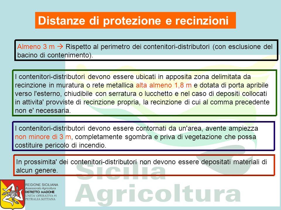 Distanze di protezione e recinzioni Almeno 3 m Rispetto al perimetro dei contenitori-distributori (con esclusione del bacino di contenimento). I conte