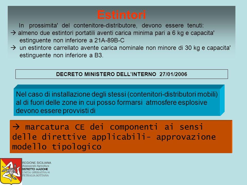 DECRETO MINISTERO DELLINTERNO 27/01/2006 Nel caso di installazione degli stessi (contenitori-distributori mobili) al di fuori delle zone in cui posso