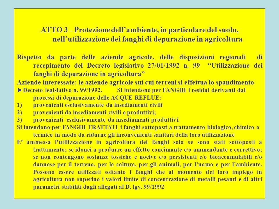 ATTO 3 – Protezione dellambiente, in particolare del suolo, nellutilizzazione dei fanghi di depurazione in agricoltura Rispetto da parte delle aziende
