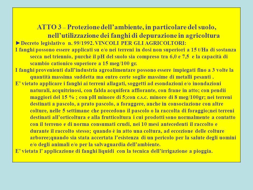 ATTO 3 – Protezione dellambiente, in particolare del suolo, nellutilizzazione dei fanghi di depurazione in agricoltura Decreto legislativo n. 99/1992.