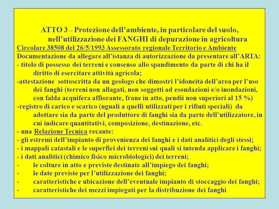 ATTO 3 – Protezione dellambiente, in particolare del suolo, nellutilizzazione dei FANGHI di depurazione in agricoltura Circolare 38508 del 26/5/1993 A