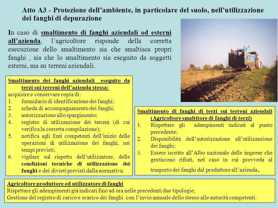 Atto A3 - Protezione dellambiente, in particolare del suolo, nellutilizzazione dei fanghi di depurazione In caso di smaltimento di fanghi aziendali od