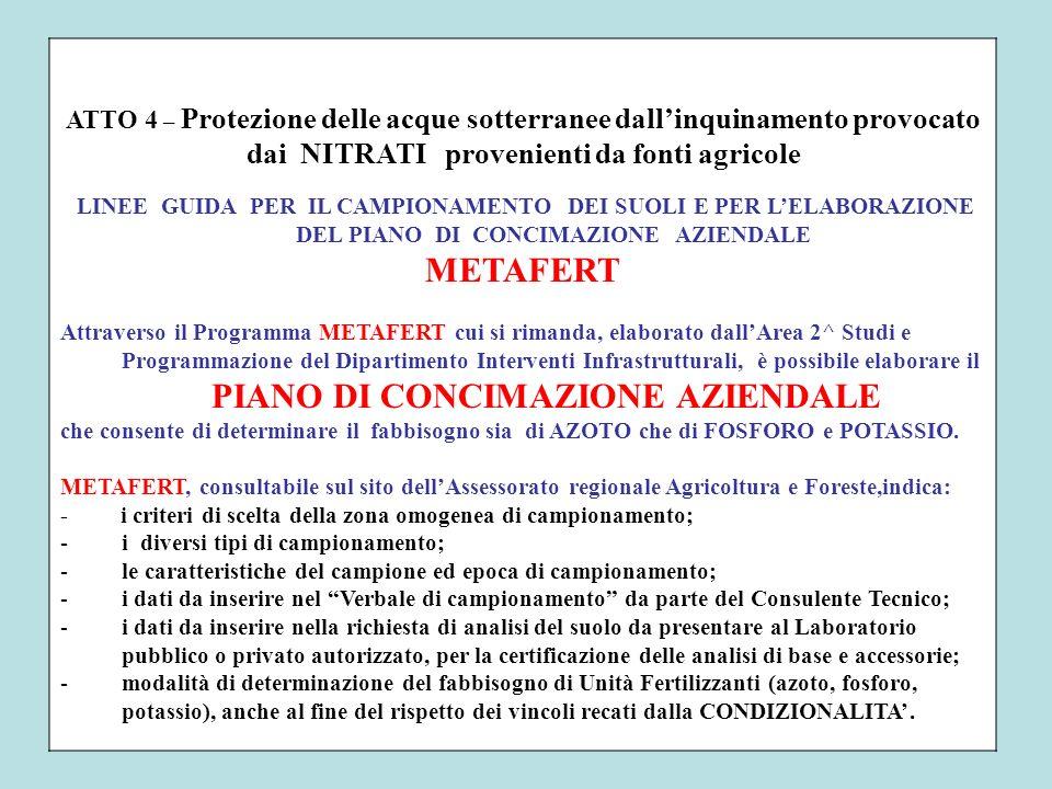 ATTO 4 – Protezione delle acque sotterranee dallinquinamento provocato dai NITRATI provenienti da fonti agricole LINEE GUIDA PER IL CAMPIONAMENTO DEI