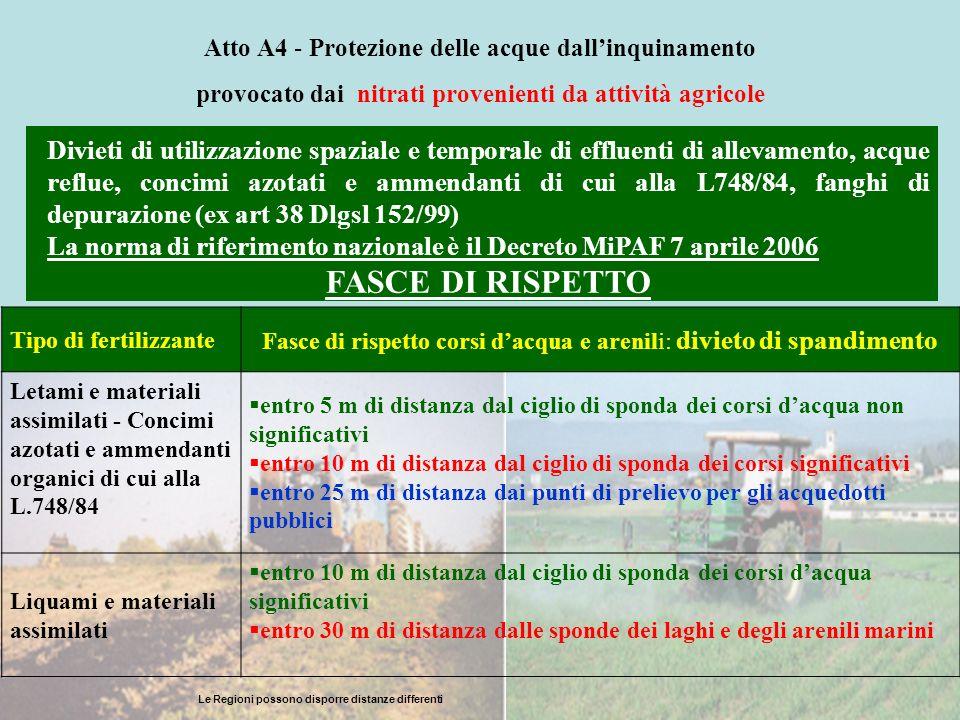 Atto A4 - Protezione delle acque dallinquinamento provocato dai nitrati provenienti da attività agricole Divieti di utilizzazione spaziale e temporale