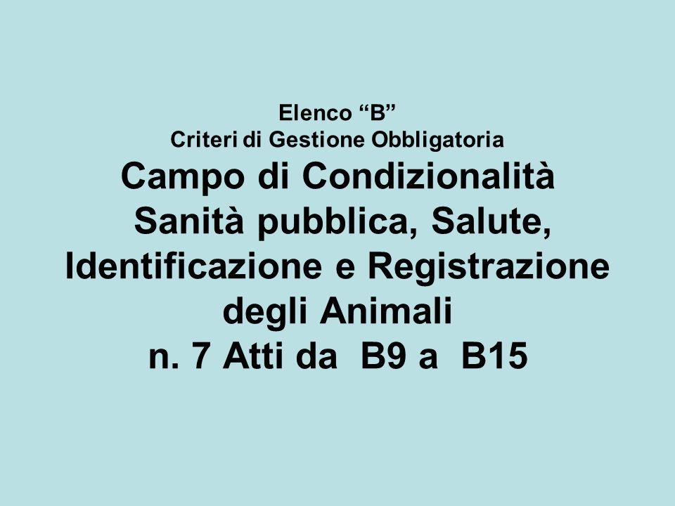 Elenco B Criteri di Gestione Obbligatoria Campo di Condizionalità Sanità pubblica, Salute, Identificazione e Registrazione degli Animali n. 7 Atti da
