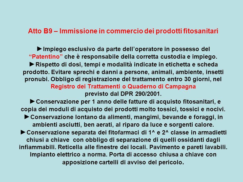 Atto B9 – Immissione in commercio dei prodotti fitosanitari Impiego esclusivo da parte delloperatore in possesso del Patentino che è responsabile dell