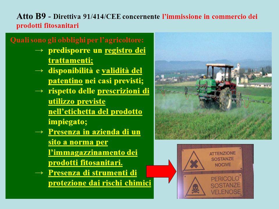 Atto B9 - Direttiva 91/414/CEE concernente limmissione in commercio dei prodotti fitosanitari Quali sono gli obblighi per lagricoltore: predisporre un