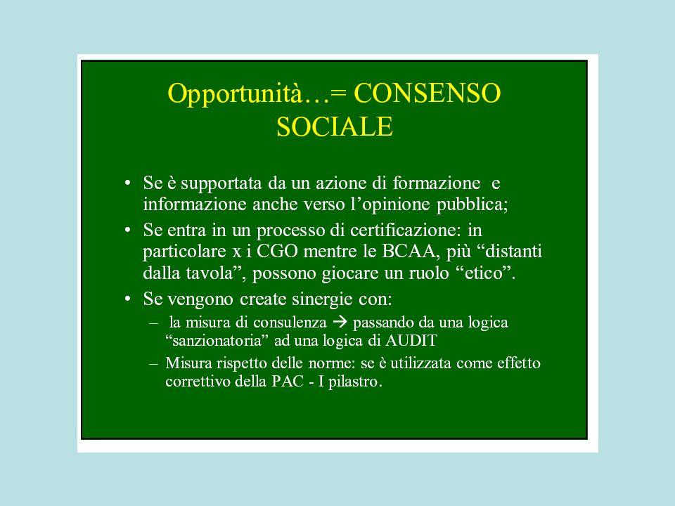 Condizionalità: sistema vincolistico nei due PILASTRI della PAC Come per il I° Pilastro, la condizionalità (CGO e BCAA) rappresenta un legame tra il rispetto dei requisiti e il pagamento degli aiuti previsti, per le misure dellAsse 2 dello Sviluppo Rurale.