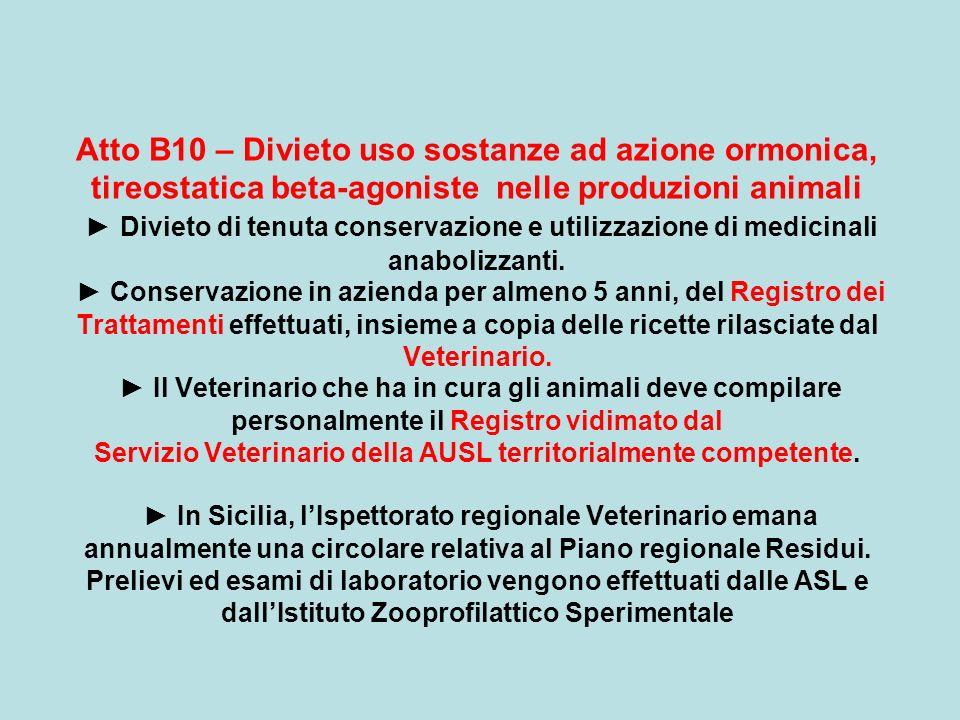 Atto B10 – Divieto uso sostanze ad azione ormonica, tireostatica beta-agoniste nelle produzioni animali Divieto di tenuta conservazione e utilizzazion
