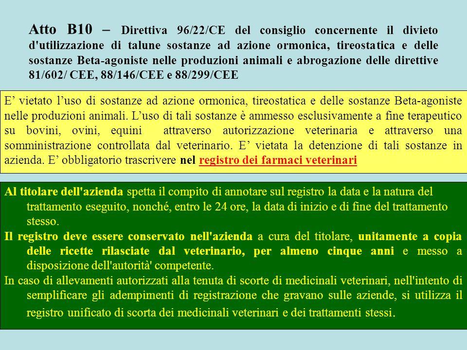 Atto B10 – Direttiva 96/22/CE del consiglio concernente il divieto d'utilizzazione di talune sostanze ad azione ormonica, tireostatica e delle sostanz