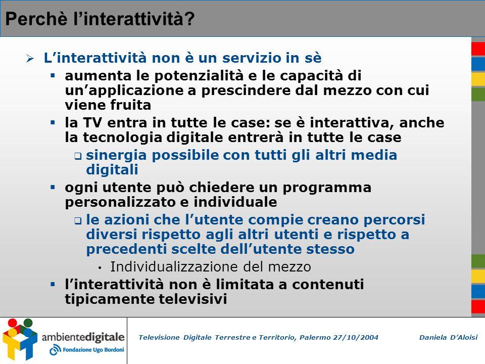Televisione Digitale Terrestre e Territorio, Palermo 27/10/2004 Daniela DAloisi Perchè linterattività.
