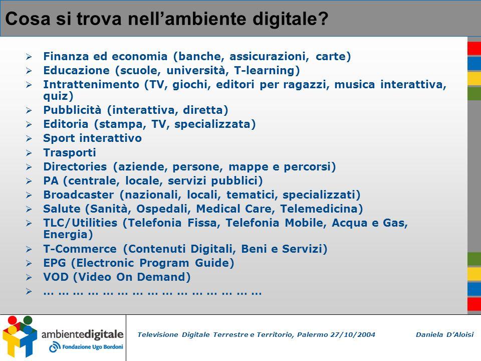 Televisione Digitale Terrestre e Territorio, Palermo 27/10/2004 Daniela DAloisi Cosa si trova nellambiente digitale.