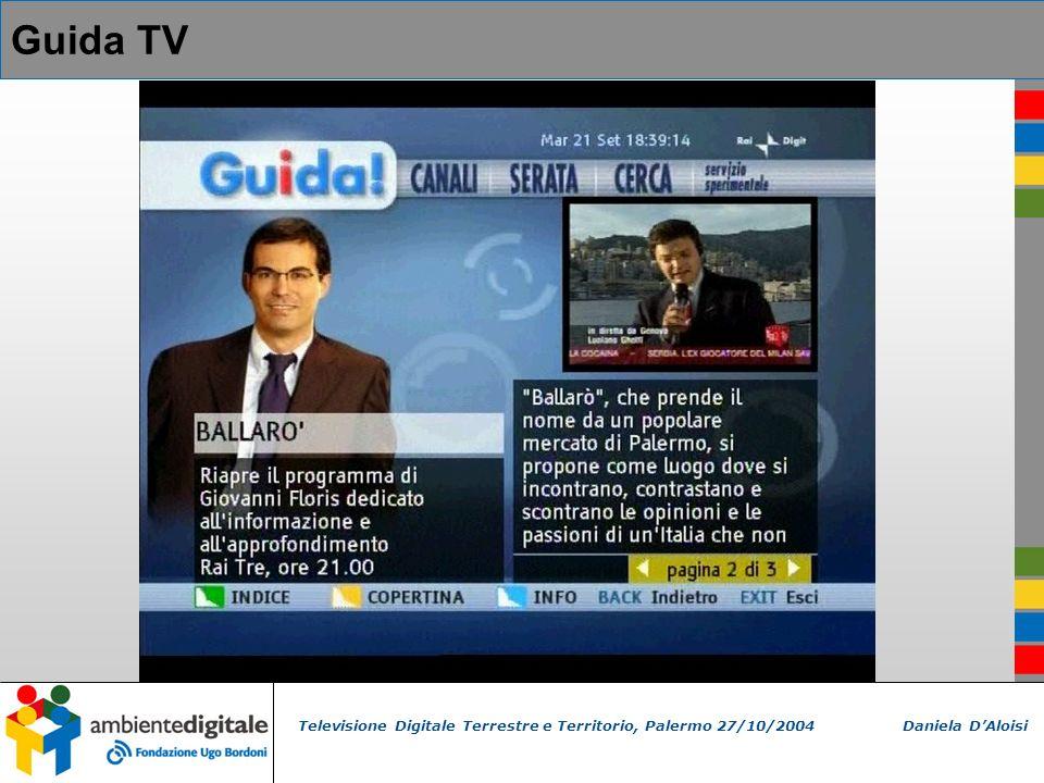Televisione Digitale Terrestre e Territorio, Palermo 27/10/2004 Daniela DAloisi Guida TV