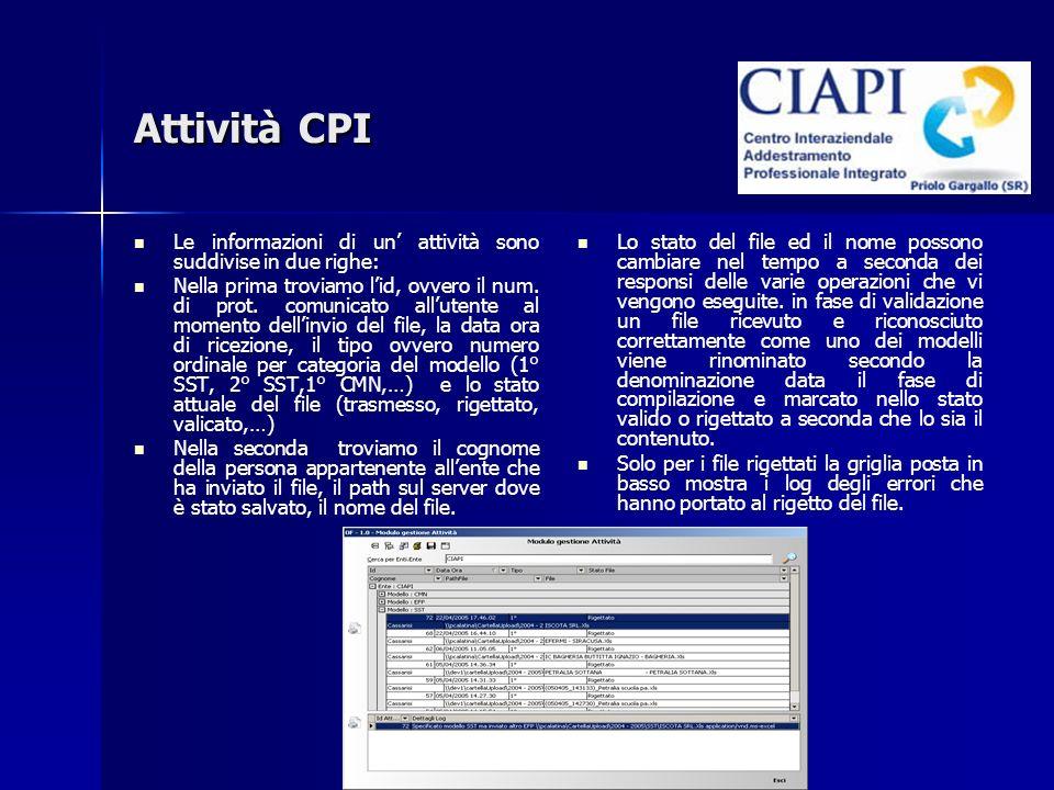 Attività CPI Le informazioni di un attività sono suddivise in due righe: Nella prima troviamo lid, ovvero il num. di prot. comunicato allutente al mom