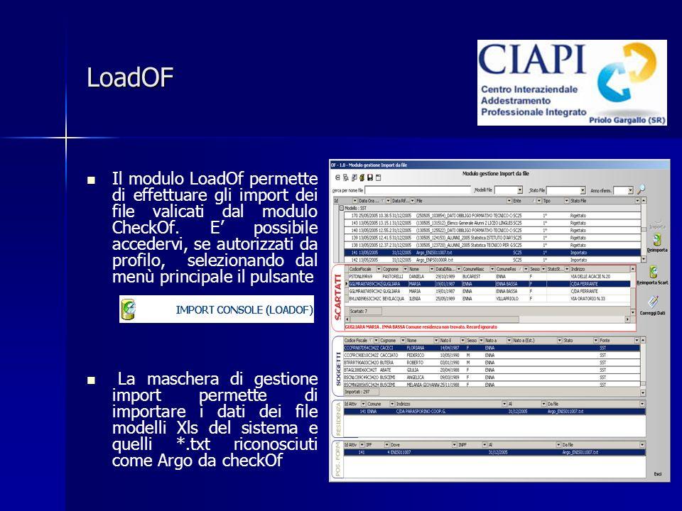 LoadOF Il modulo LoadOf permette di effettuare gli import dei file valicati dal modulo CheckOf. E possibile accedervi, se autorizzati da profilo, sele