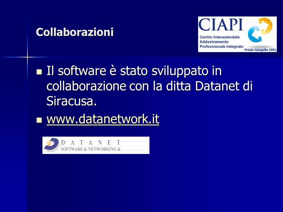 Collaborazioni Il software è stato sviluppato in collaborazione con la ditta Datanet di Siracusa.
