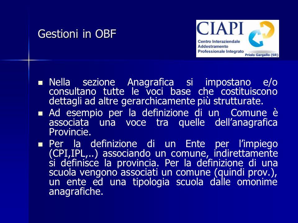 Gestioni in OBF Nella sezione Anagrafica si impostano e/o consultano tutte le voci base che costituiscono dettagli ad altre gerarchicamente più strutturate.