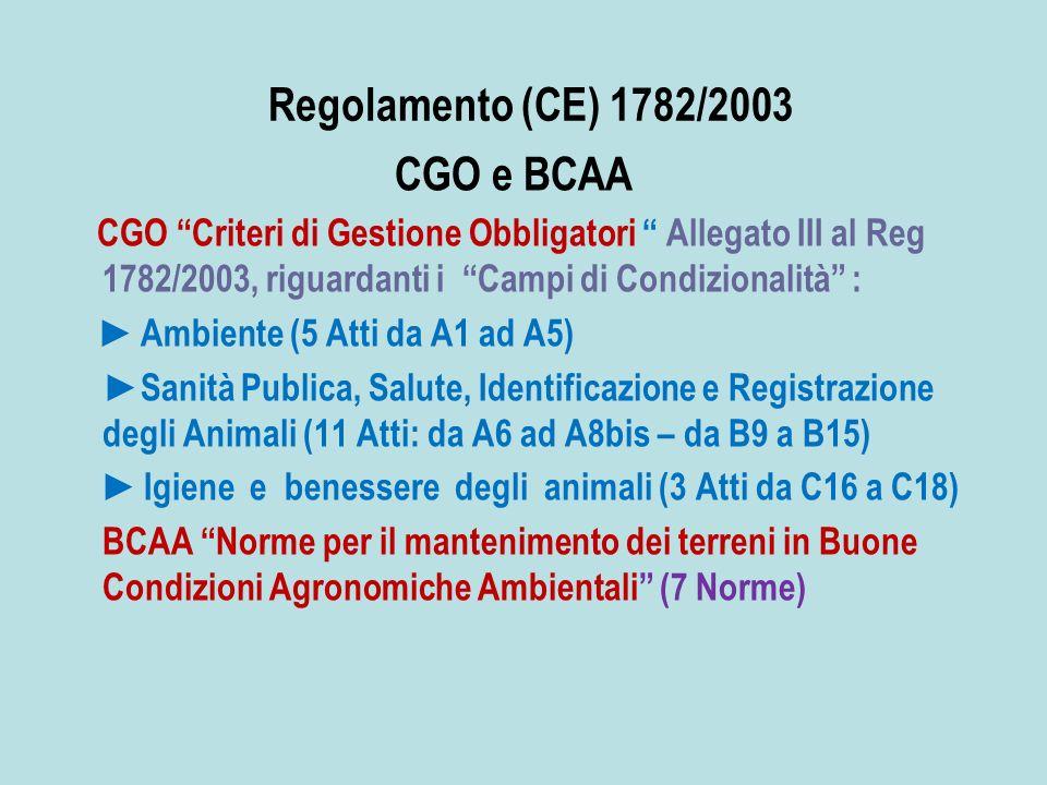 Regolamento (CE) 1782/2003 CGO e BCAA CGO Criteri di Gestione Obbligatori Allegato III al Reg 1782/2003, riguardanti i Campi di Condizionalità : Ambiente (5 Atti da A1 ad A5) Sanità Publica, Salute, Identificazione e Registrazione degli Animali (11 Atti: da A6 ad A8bis – da B9 a B15) Igiene e benessere degli animali (3 Atti da C16 a C18) BCAA Norme per il mantenimento dei terreni in Buone Condizioni Agronomiche Ambientali (7 Norme)