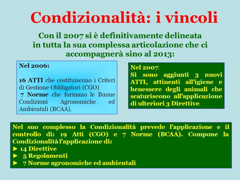 Condizionalità: i vincoli Con il 2007 si è definitivamente delineata in tutta la sua complessa articolazione che ci accompagnerà sino al 2013: Nel 2006: 16 ATTI che costituiscono i Criteri di Gestione Obbligatori (CGO) 7 Norme che formano le Buone Condizioni Agronomiche ed Ambientali (BCAA).