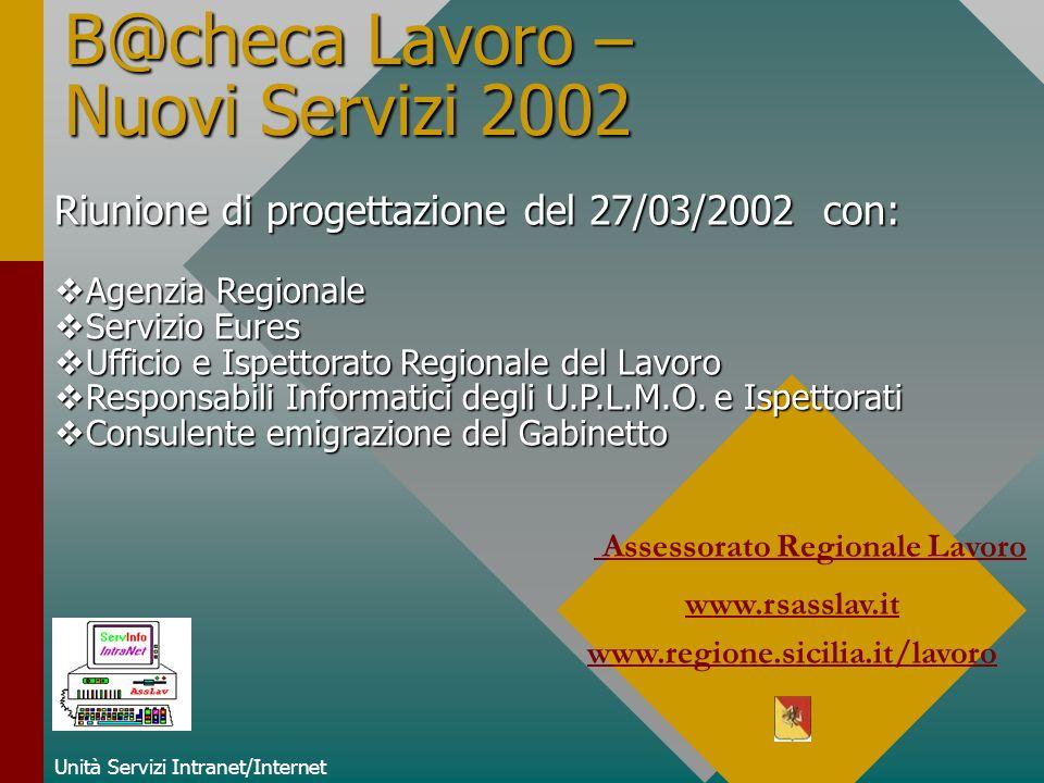 B@checa Lavoro – Nuovi Servizi 2002 Unità Servizi Intranet/Internet Assessorato Regionale Lavoro www.rsasslav.it www.regione.sicilia.it/lavoro Riunion
